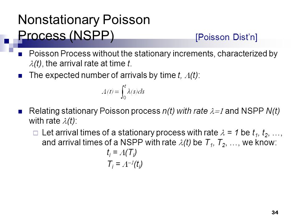 Nonstationary Poisson Process (NSPP) [Poisson Dist'n]